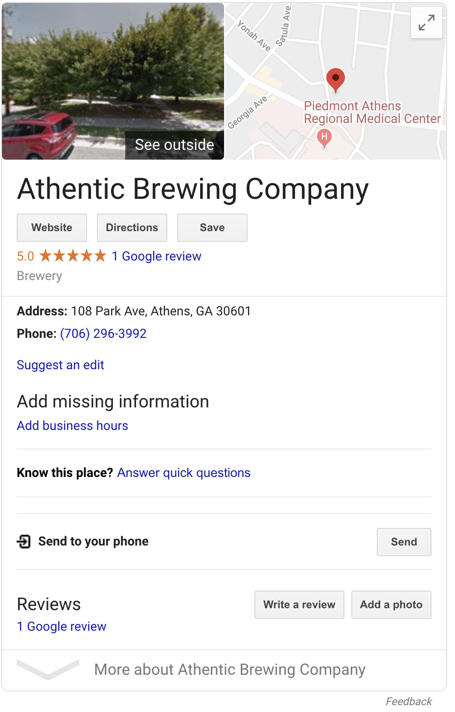 Athentic Brewing Co. Google listing