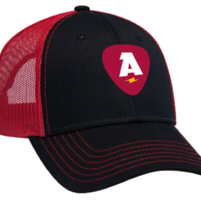 Trucker hat with logo and contrast stitching